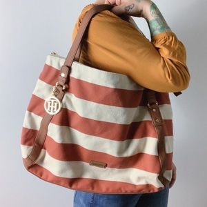 TOMMY HILFIGER Striped Canvas Tote Bag